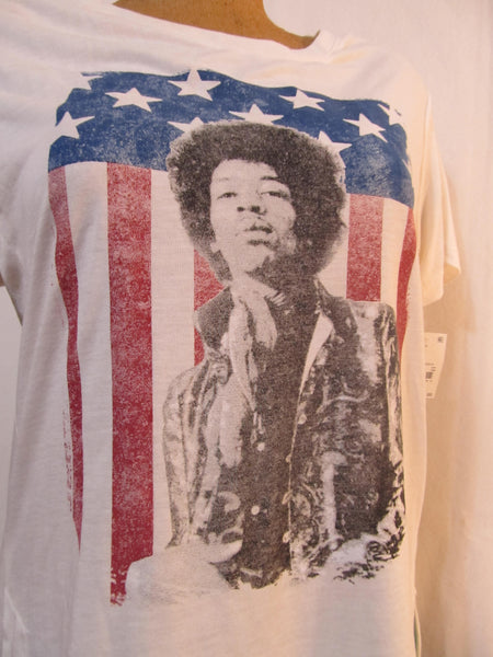Jimi Hendrix Small White Short Sleeve T-Shirt, FREE Shipping