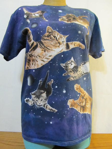 SPACE CATS!!! Medium Blue Short Sleeve T-Shirt, FREE Shipping