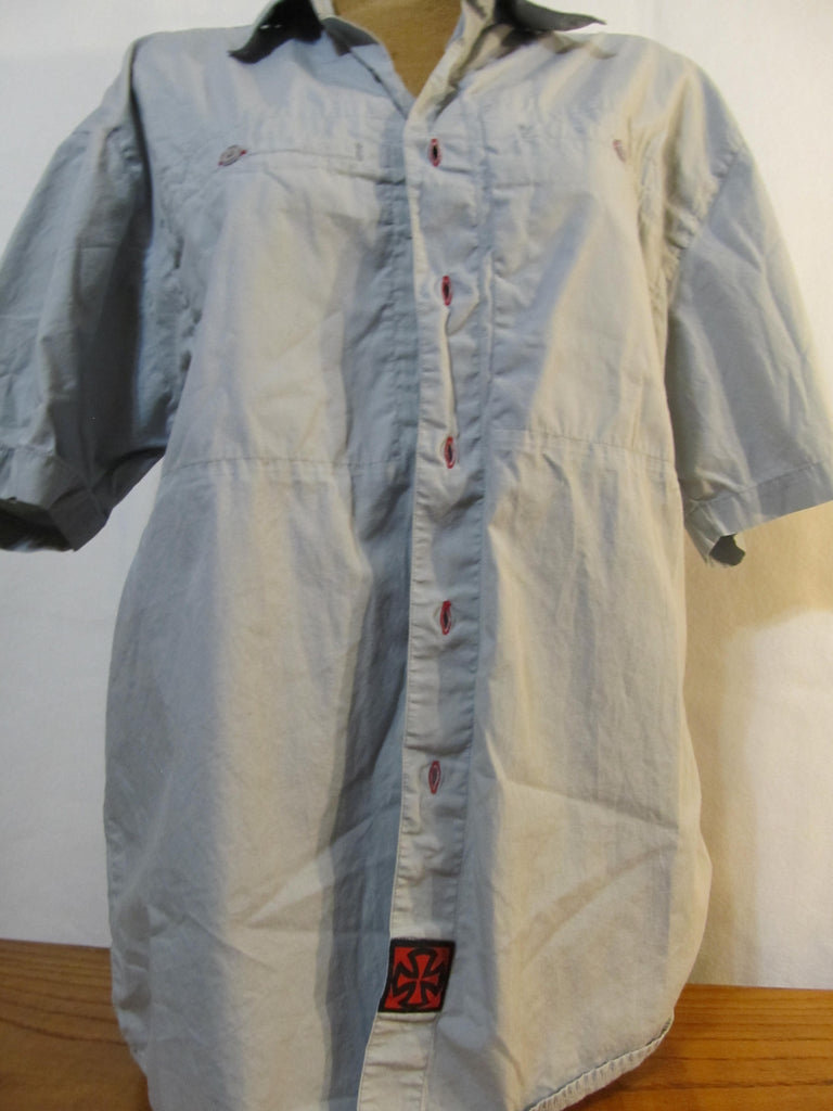Independent Short Sleeve Button Up Large Light Grey Shirt, FREE Shipping