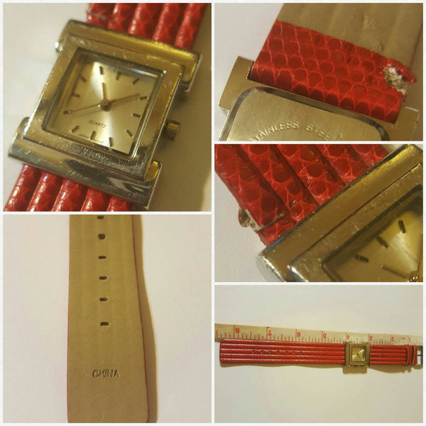 Square face, Red band watch
