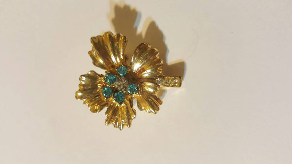 Teal Stone Gold Flower Brooch, Vintage Jewelry, FREE shipping