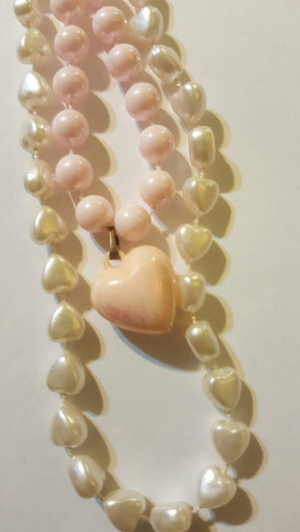 white and pink HEARTS beaded necklace vintage jewelry