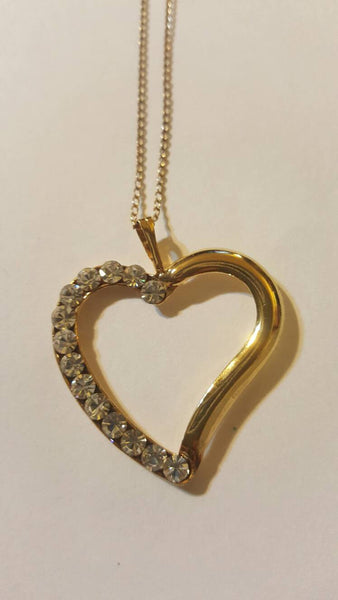 Half and Half 50/50 Diamond Gold Heart Necklace, Vintage Love Jewelry, 12K, I love You, for her, free shipping <3