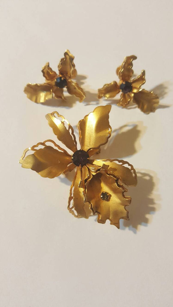 Brooch & Ear Rings Set, Vintage Jewelry, FREE SHIPPING