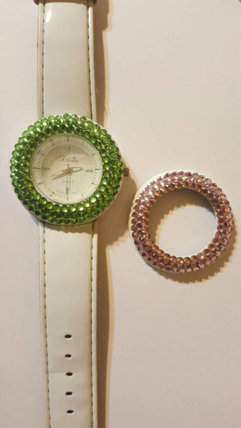 Changeable Cover, Green and Pink, White Band Wrist Watch, vintage accessory jewelry, f r e e  s h i p p i n g!