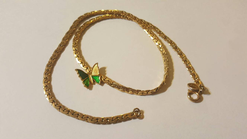 Gold and Green Butterfly Avon Necklace, Vintage Jewelry, FREE Shipping