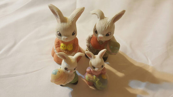 Bunny Rabbit Family, Easter decor, porcelain knicknacks, gifts for Easter, whatnots, decorations, Holiday, FREE Shipping