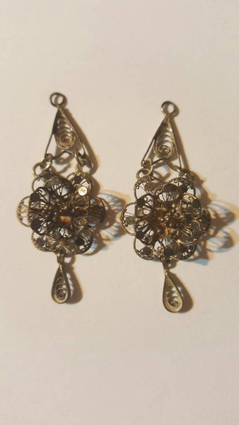 Two Dangle Ear Rings? Antique Matching Jewelry, free shipping