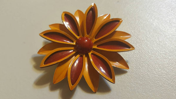 Flower Brooch, red and yellow, FREE Shipping