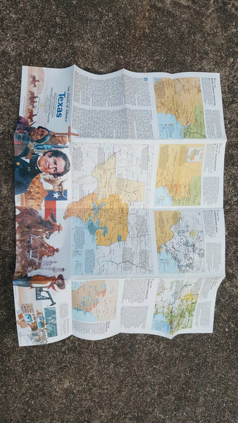Texas Map - Vintage Paper - Perfect condition - National Geographic Magazine - March 1986