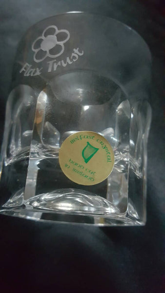 Belfast Ireland, Hand-cut Crystal Glass, Flax Trust , Shot Glass, On the Rocks Glass, FREE SHIPPING
