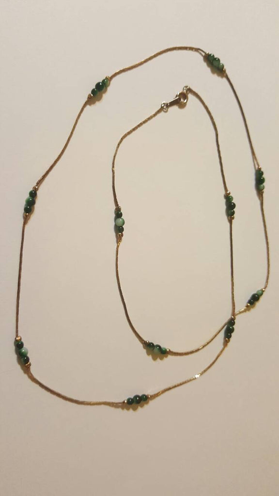 gold chain, green beads, vintage jewelry, FREE Shipping