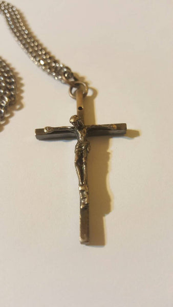 Jesus on Cross Sterling Silver Pendant, silver necklace, vintage jewelry, FREE Shipping