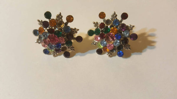 gorgeous rainbow, vintage jewelry, upcycle, clip on ear rings, free shipping