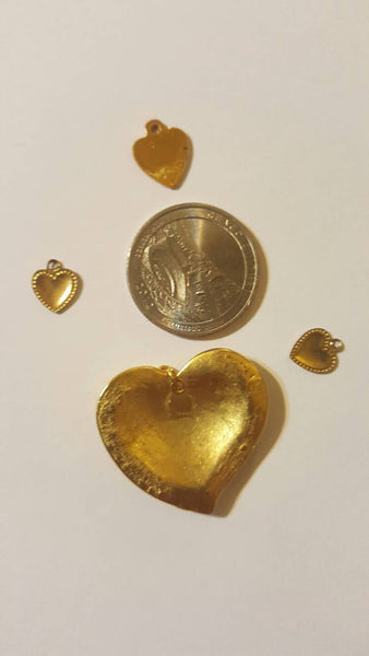 4 Gold Heart Pendants, Vintage Jewelry