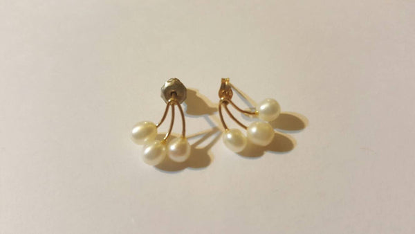 Gold Pierced Ear Rings with 3 pearls a piece, Vintage Jewelry