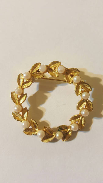 Pearl Wreath Brooch, Vintage Gold Jewelry