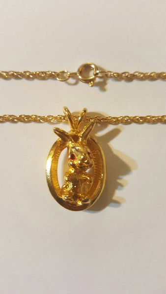 Gold Bunny Rabbit necklace vintage Jewelry, Easter Jewelry, Gifts for Easter, Rabbit Lovers, Bunnies, charms, cute, FREE Shipping