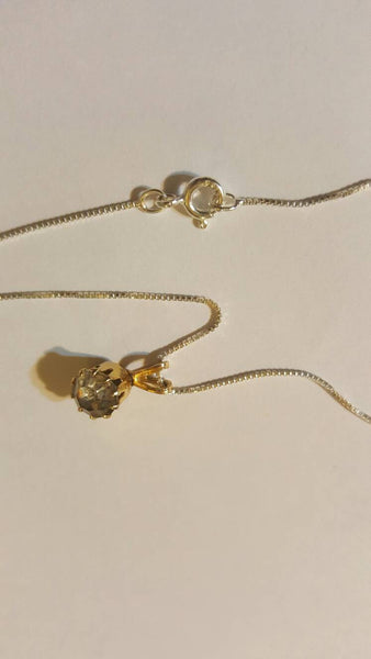 Gold Necklace with single small stone Vintage Jewelry, FREE SHIPPING