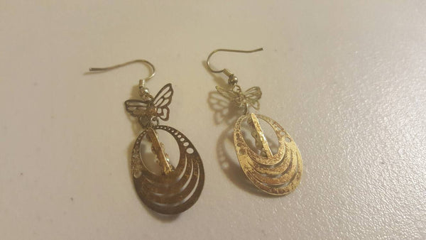 Butterfly Dangle Ear Rings, Pierced, Vintage Jewelry, FREE Shipping