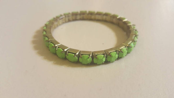 Green stretch silver Bracelet vintage Jewelry, free shipping