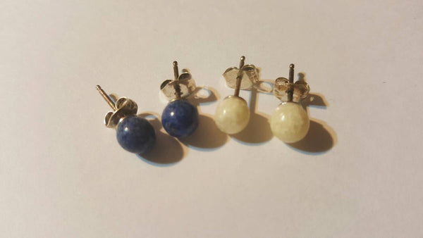 Blue and White speckled Round Stud Pierced Ear Rings, vintage jewelry, FREE Shipping