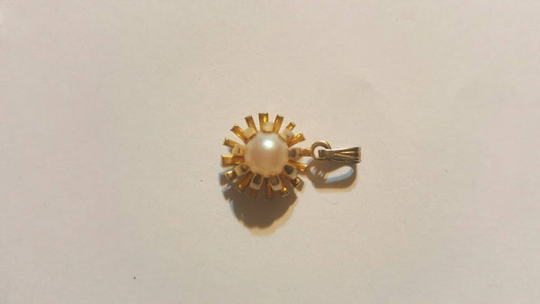 Gold Starburst Pearl Vintage Jewelry, FREE Shipping