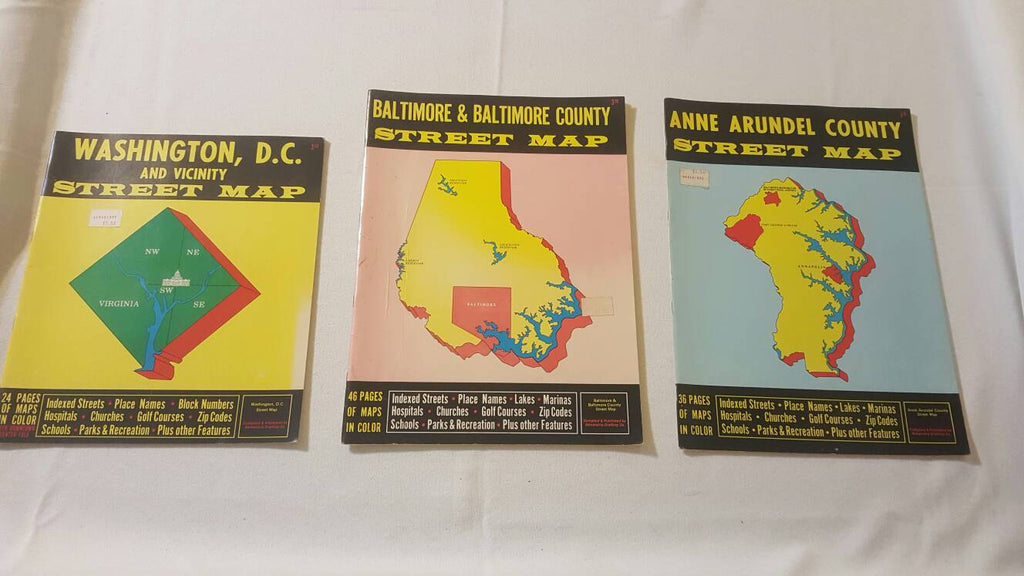Washington, DC Baltimore, MD and Anna arundel  Co, Maryland Maps, Street Maps, Books