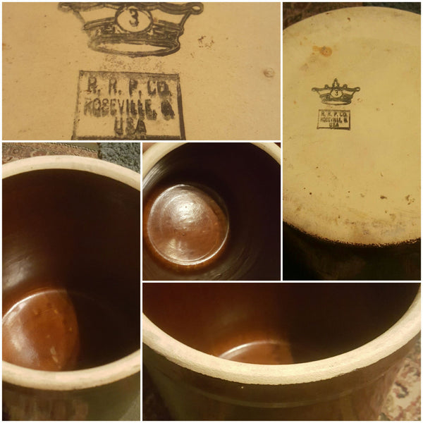 Brown Crock, Rosewood, CA VA, R R P Co, USA, antique crocks