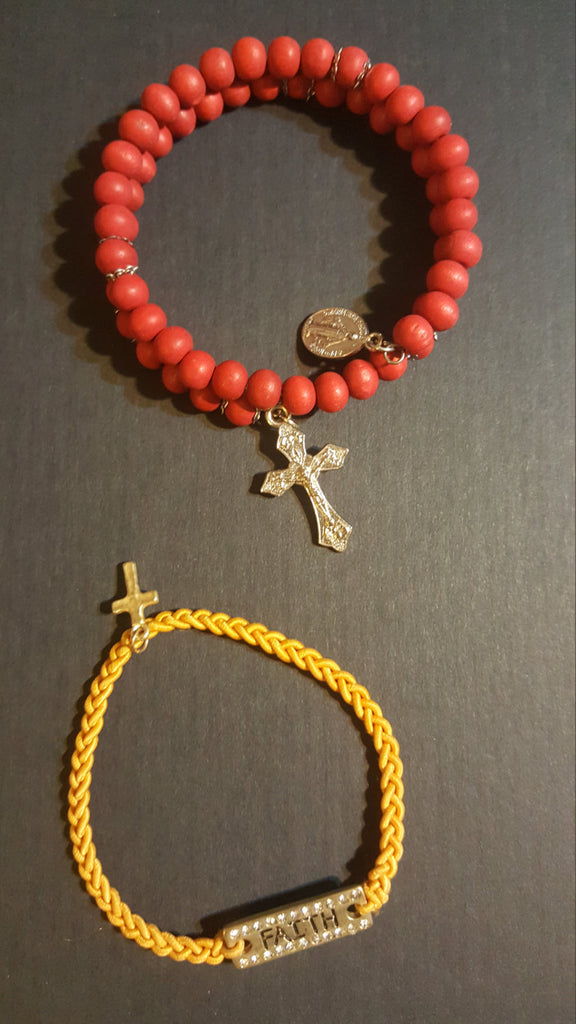 Religious Bracelets, Red and Yellow, Vintage Jewelry