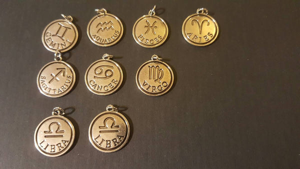 Zodiac Silver Pendants! Gemini, Aquarius, Cancer. Pieces, Virgo, Libra, Aries, Sagittarius