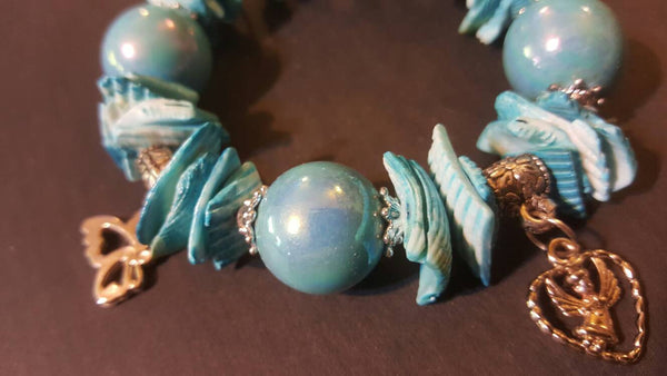 Teal Bracelet, stars and hearts, FREE Shipping