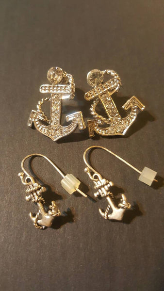 Anchor Ear Rings, pierced silver vintage jewelry, FREE Shipping