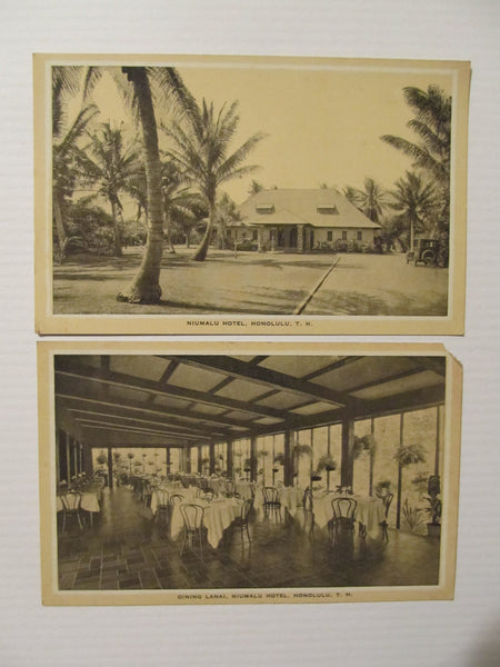 Niumalu Hotel, Honolulu, T.H. Postcards, FREE SHIPPING