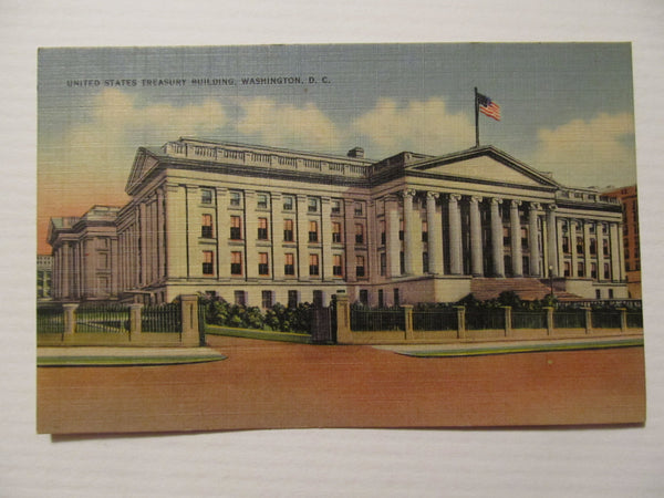 United States Treasury Building, Washington DC Postcard, Street Scenes, Buildings, yesteryear, FREE SHIPPING