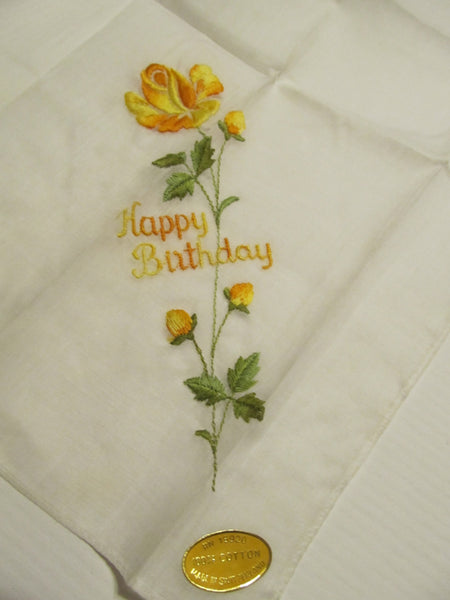 Yellow Rose Happy Birthday, embroidered handkerchief, 100% cotton, made in Switzerland, FREE Shipping