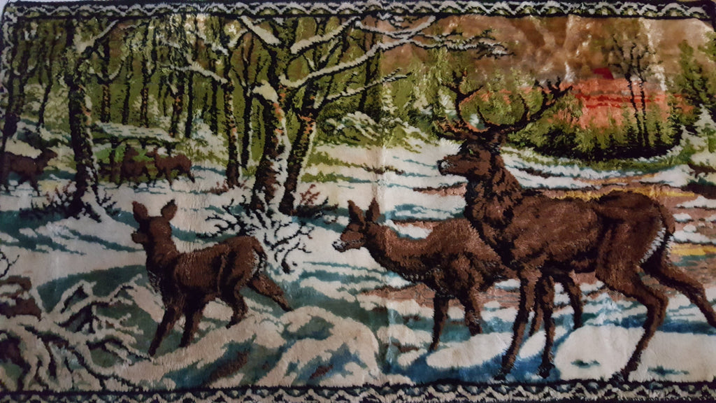 Deer Woodland Scene, Wall Carpet, Home Decor, Man Cave Gift