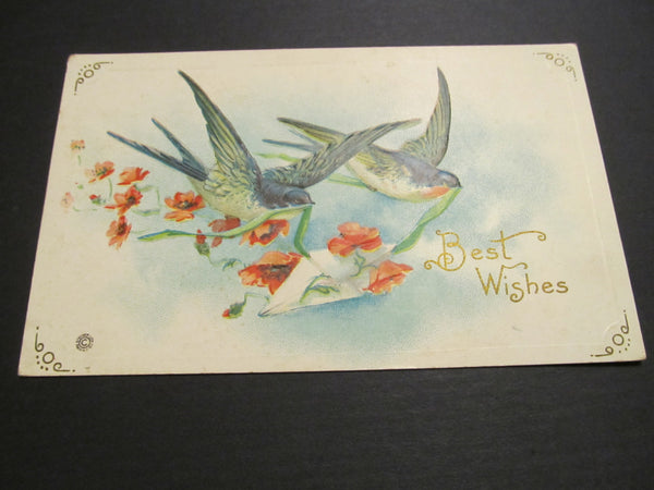 Best Wishes beautiful blue birds, Postcard, FREE SHIPPING