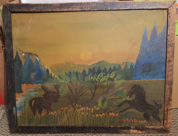 Large Wood Frame, Wildlife Landscape, Horse and MOose, wilderness, mountain scene, great age, FREE Shipping