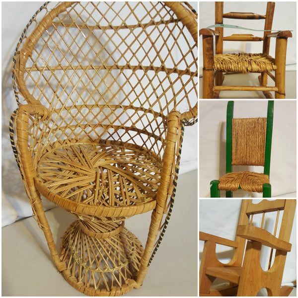 Doll Chairs, FOUR to choose from, Doll accessories, Rocking Chairs, Wicker Chairs