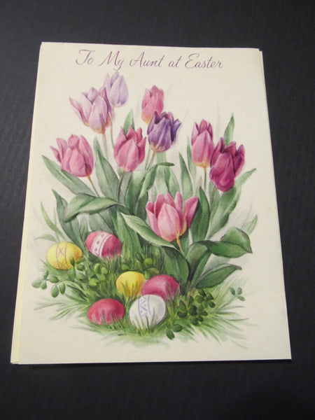 To My Aunt at Easter, Purple Tulips & Easter Eggs, Greeting Card, FREE SHIPPING