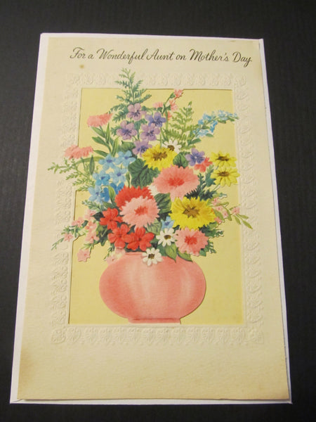 For a Wonderful Aunt on Mother's Day, floral Greeting Card, FREE SHIPPING