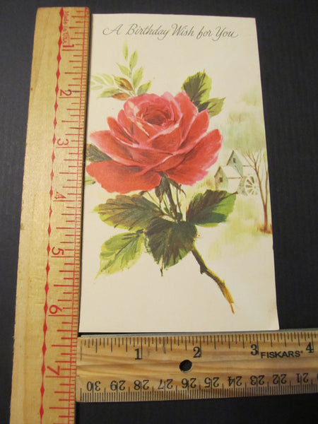 A Birthday Wish for You, Red Rose Greeting Card, FREE SHIPPING