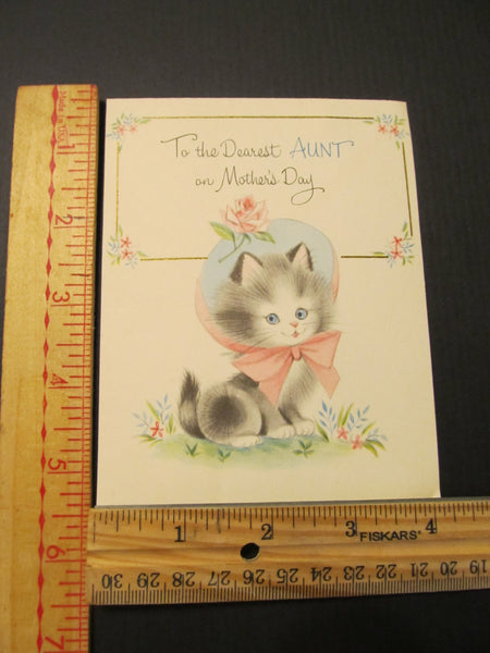 To the Dearest AUNT on Mother's Day, Cat Greeting Card, FREE SHIPPING