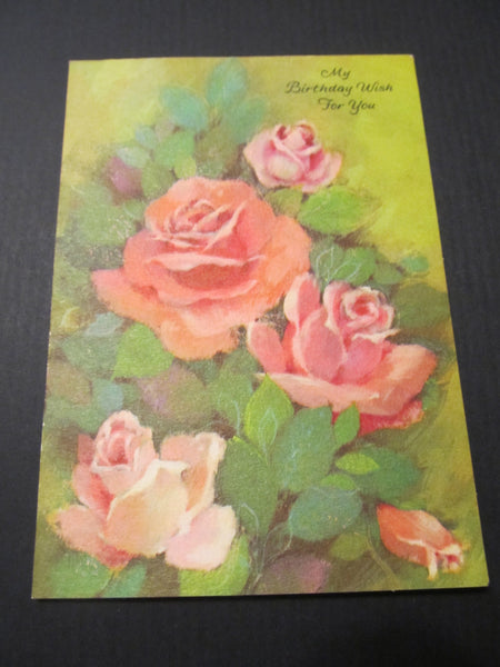 My Birthday Wish for You, Pink Roses Bday Greeting Card, FREE SHIPPING