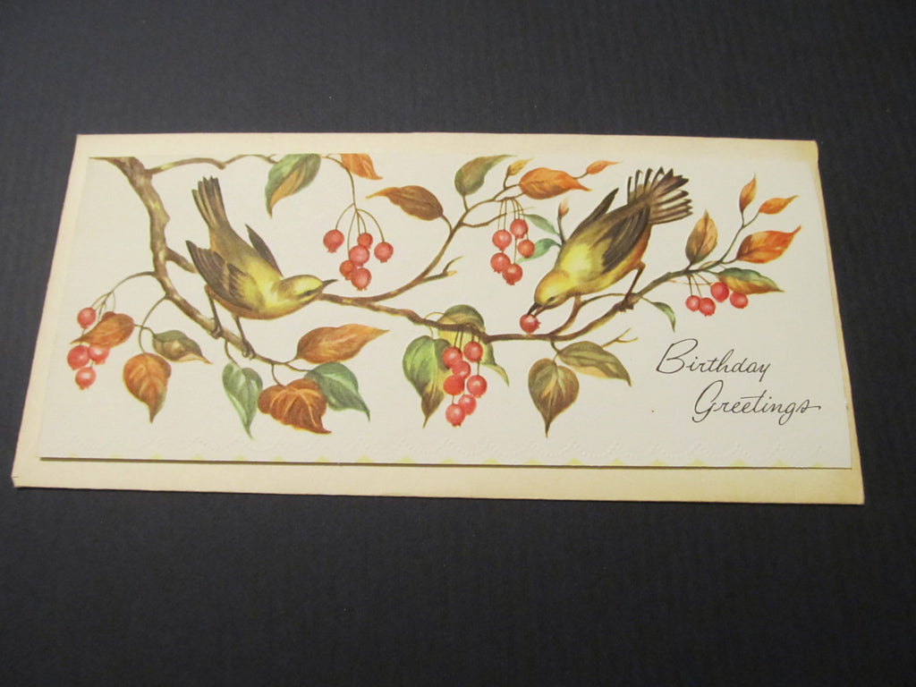 Bird Birthday Greeting, long money card, Greeting Card, FREE SHIPPING