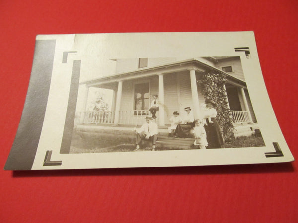 RPPC Family Porch Photoraph Postcard, FREE SHIPPING