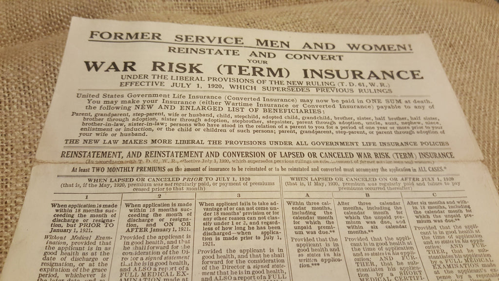 1920s WAR RISK Term Insurance paperwork...