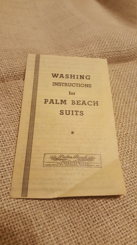Washing Instructions for PALM BEACH Suits, free shipping