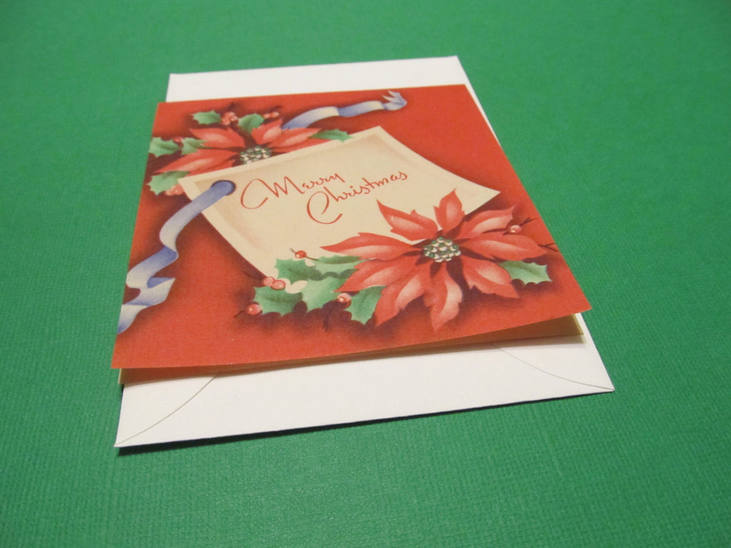 simple, small, poinsettias, Merry Christmas Greeting Card, FREE SHIPPING